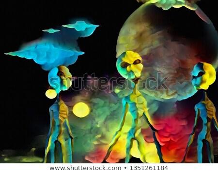Três lua ilustração paisagem arte espaço Foto stock © colematt