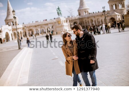 Loving couple by the Fisherman's Bastion in Budapest, Hungary Stock photo © boggy