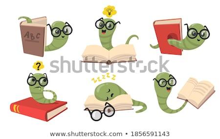 книжный · червь · образование · зеленый · Cartoon · Caterpillar · червя - Сток-фото © colematt