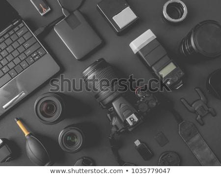 Photographers with Digital Cameras and Photos Set Stock photo © robuart