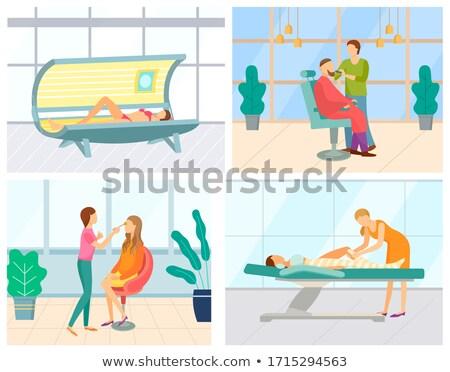Napozás szolárium nő ügyfél ábrázat vektor Stock fotó © robuart