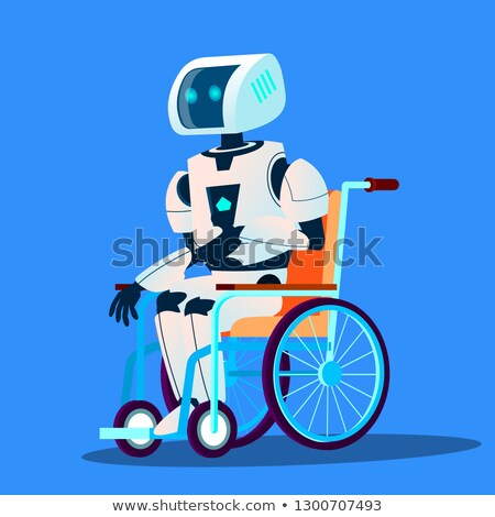 broken robot moving in wheelchair vector isolated illustration stock photo © pikepicture