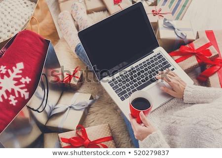 nő · vásárlás · karácsony · vásárolt · ajándékok · ajándékdobozok - stock fotó © robuart