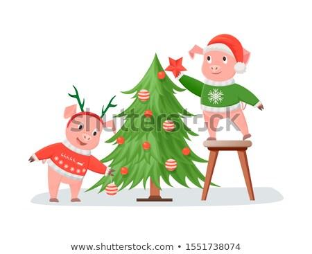 Porcos tricotado árvore de natal feliz ano novo saudação quadro Foto stock © robuart