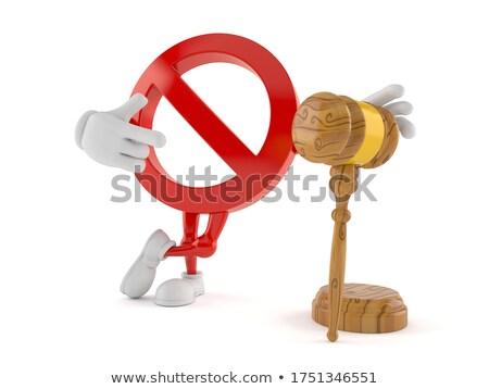 Houten hamer teken verboden witte geïsoleerd Stockfoto © ISerg