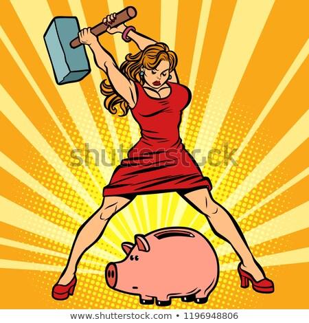 Vrouw spaarvarken financieren economie verbruik komische Stockfoto © rogistok