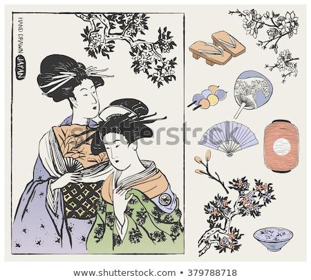 Sketch asian girl in traditional kimono. Vector Stock photo © Arkadivna