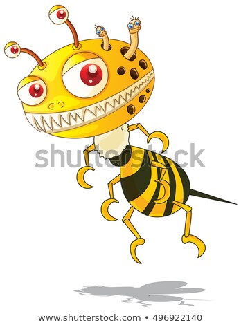 flying monster with yellow and black striped stock photo © colematt