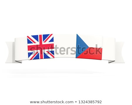 Stockfoto: Banner With Two Square Flags Of United Kingdom And Czech Republi