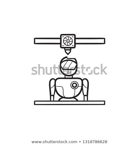 3d printer printing robot hand drawn outline doodle icon stock photo © rastudio