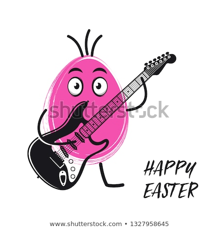 Easter egg playing electric guitar funny vector Stock photo © blumer1979