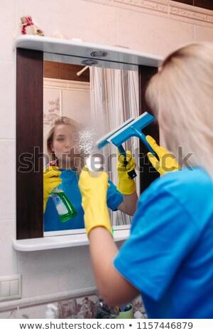 ストックフォト: 女性 · 洗浄 · スプレー · 洗浄 · ミラー · バス