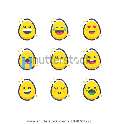 Happy Easter, colorful easter eggs with cute smiling emoji faces, vector illustration. Stock photo © ikopylov
