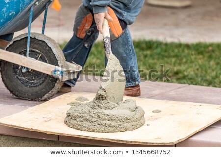 mężczyzna · pracownik · budowlany · łopata · sexy · budowy · skok - zdjęcia stock © feverpitch