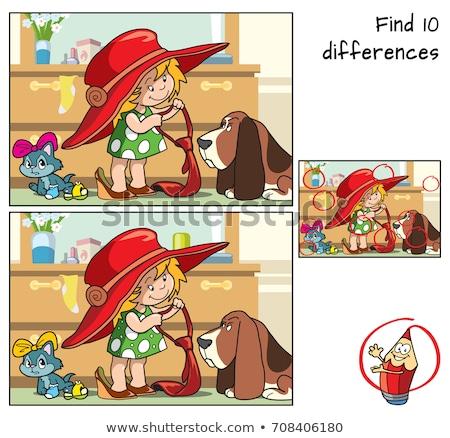 Vinden verschillen cartoon hond illustratie Stockfoto © izakowski