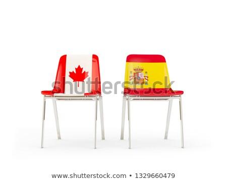 Kettő székek zászlók Kanada Spanyolország izolált Stock fotó © MikhailMishchenko