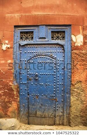 turkuaz · kapı · bağbozumu · Metal · işlemek · anahtar · deliği - stok fotoğraf © marylooo