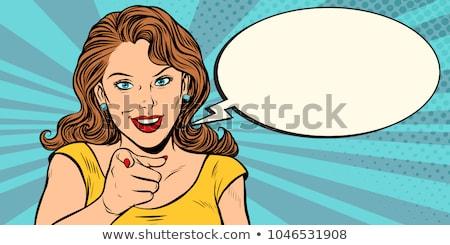 pop art woman pointing finger stock photo © studiostoks