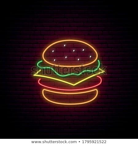 Hamburguesa neón publicidad signo vector fondo Foto stock © balasoiu