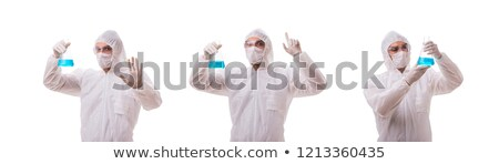 Chemist working with radioactive substances isolated on white ba Stock photo © Elnur
