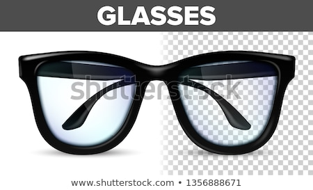Man Male Glasses Vector. Black Classic Eyewear Glasses. Vision Optical Lens. Transparent 3D Realisti Stock photo © pikepicture