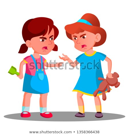 argue child girls vector argue people concept quarrel person on playground conflict and problem stock photo © pikepicture