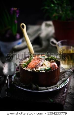 Risotto asperges zalm stijl rustiek donkere Stockfoto © zoryanchik