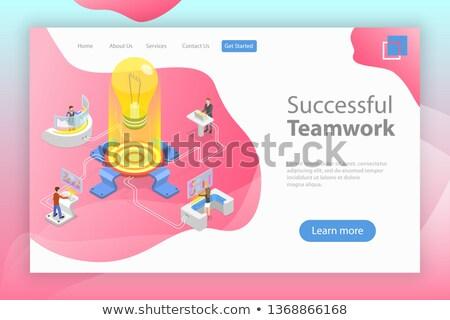 üzlet · együttműködés · izometrikus · vektor · kettő · vállalkozók - stock fotó © tarikvision