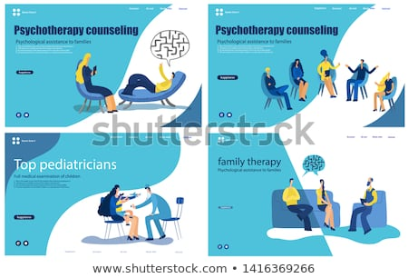 Psychiatry, Psychology Professional Consultation Vector Illustration Set Foto d'archivio © pikepicture