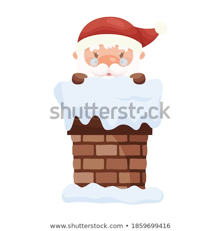 merry christmas santa claus look out chimney pipe stock photo © robuart
