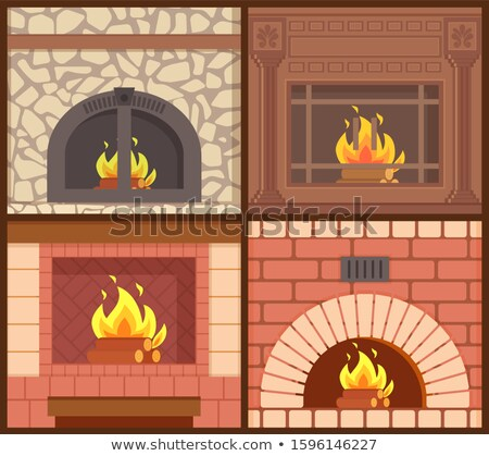 Fireplaces Made of Wood and Stone Heating Types Stock photo © robuart