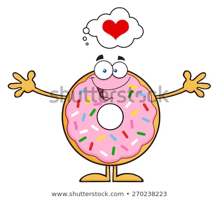 chocolate donut cartoon character with sprinkles thinking of love and wanting a hug stock photo © hittoon