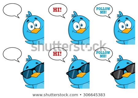 Cute Blue Bird Cartoon Character Waving With Speech Bubble And Text Stock photo © hittoon