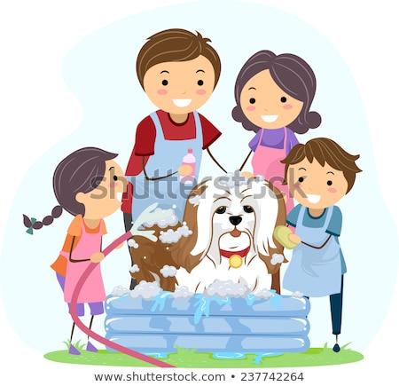 Stickman Kids Dog Bath Illustration Stock photo © lenm