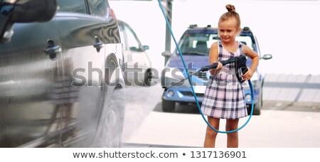 女の子 洗濯 自動 洗車 かなり 深刻 ストックフォト © amok
