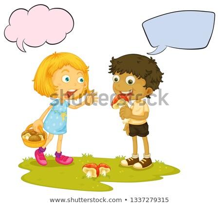 fiú · lány · beszél · szöveglufi · illusztráció · terv - stock fotó © colematt