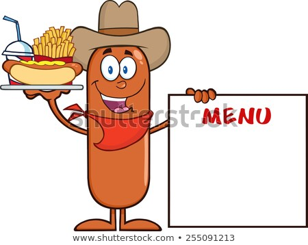 Сток-фото: Cowboy Sausage Cartoon Character Carrying A Hot Dog French Fries And Cola Next To Menu Board