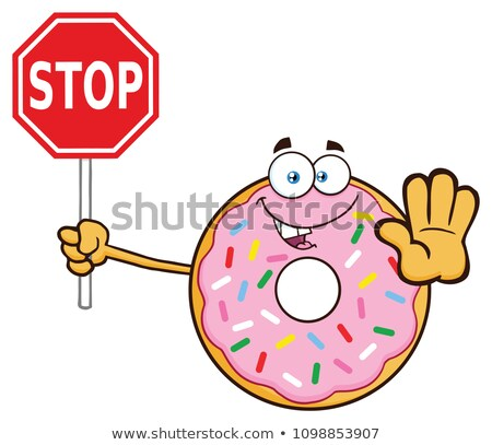 smiling donut cartoon character with sprinkles holding a stop sign stock photo © hittoon