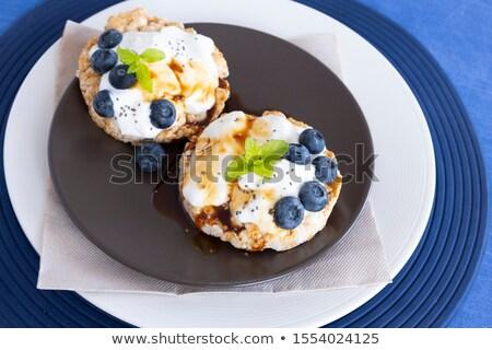 kek · cam · süt · mavi · çanak - stok fotoğraf © denismart