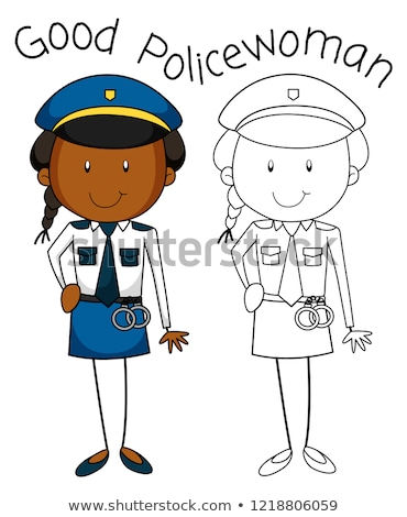 Doodle good policewoman character Stock photo © colematt