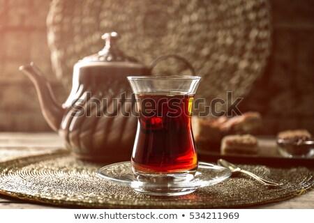 Fekete török tea hagyományos üveg tálca Stock fotó © grafvision