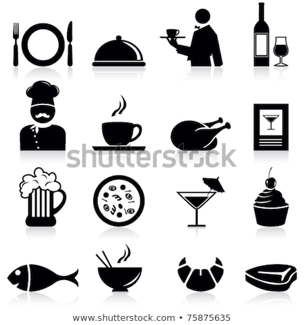 waiter and food icons cakes and meat dishes set stock photo © robuart