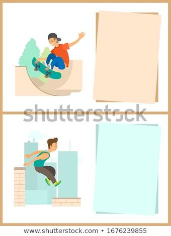 Skateboard hobby jeunes affiche vecteur jeune homme Photo stock © robuart