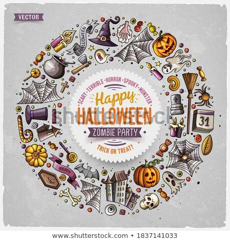 Round frame Halloween cartoon objects, symbols and items Stock photo © balabolka