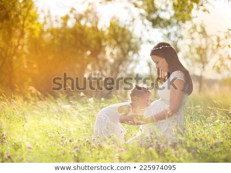 mujer · embarazada · otono · forestales · hermosa · tiempo · sesión - foto stock © lopolo
