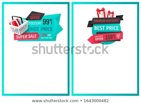 50 Percent Reduced Cost, Present with Bow Sale Tag Stock photo © robuart