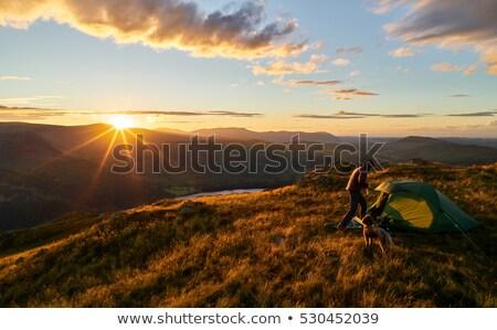 Domboldal naplemente gyönyörű szín tájkép észak Stock fotó © hlehnerer