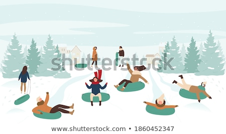Young Man Riding On Sledge In Snowy Landscape Stock photo © monkey_business