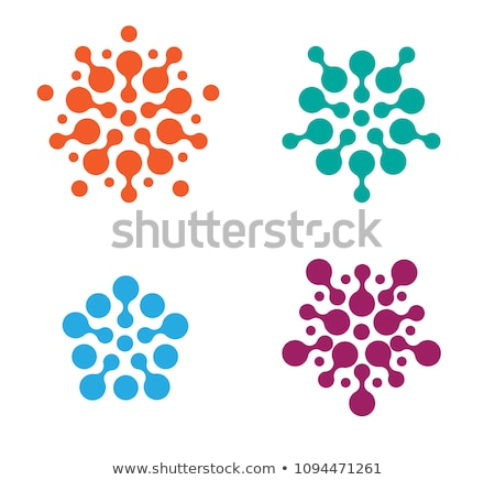 circle logotype blue points in round flat vector stock photo © robuart