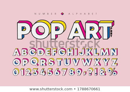 Three colors line font Letter A 3D Stock photo © djmilic